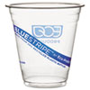 Cold drink cups made from 25% post-consumer recycled PET bottles.