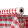 Plastic Table Cover, 40 X 300 Ft Roll, Red Gingham