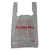 "Plastic Thank You T-Sacks, 6"" x 4"" x 15"", 2 Mil, White"