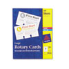 Laser/inkjet printable rotary cards are constructed of heavyweight card stock and feature ultra-fine perforations.