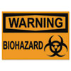 Osha Safety Signs, Warning Biohazard, Orange/black, 10 X 14