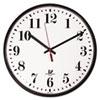 "Quartz Slimline Clock With Protective Cover, 12-3/4"", Black"