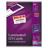 Avery® Laminated Laser/Inkjet ID Cards, 2 x 3 1/4, White, 30/Box AVE5361