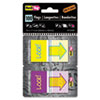 Pop-Up Fab Page Flags W/dispenser, look!, Purple/yellow; Yellow/teal, 100/pack