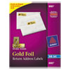 Foil Mailing Labels, 3/4 x 2 1/4, Gold, 300/Pack