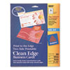 Avery® Print-to-the-Edge 2-Sided Clean Edge Business Card, Inkjet, 2x3-1/2, Wht, 160/Pk