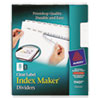 Print & Apply Clear Label Dividers W/white Tabs, 8-Tab, Letter, 5 Sets