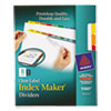 Index Maker Print & Apply Clear Label Dividers W/color Tabs, 8-Tab, Letter