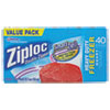 Double Zipper Freezer Bags, 6.97 x 7.7, 1 qt, 2.7 mil, 40/Box, 9 Box/Carton