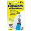 Geckotech Reusable Hooks, Plastic, 1 Lb Capacity, Clear, 2 Hooks
