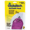 Geckotech Reusable Hooks, Plastic, 5 Lb Capacity, Clear, 1 Hook