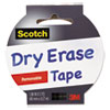 Dry Erase Tape, 1.88 X 5yds, 3 Core, White