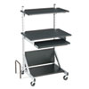 Totally Adjustable Mobile Sit-Stand Workstation, 30 x 24 x 52, Black/Silver