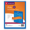 Poly String & Button Envelope, 9 3/4 x 11 5/8 x 1 1/4, Blue, 5/Pack