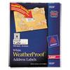 WeatherProof Addess Labels w/TrueBlock, Laser, White, 1 x 2 5/8, 1500/Pack