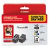 0615B009 (PG-40/CL-41) ChromaLife100+ Ink & Paper Combo Pack, Black/Tri-Color