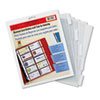 Clear, heavyweight polypropylene pages fit any standard three-ring binders. Each page holds 20 business cards.