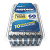 RAY-O-VAC 824-60PPTK Alkaline Battery, AAA, 60/Pack