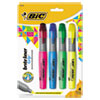 Brite Liner Grip Highlighter, Chisel Tip, Assorted Colors, 4/set