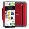 "Zipper Binder, 11 x 8 1/2, 2"" Capacity, Red"