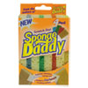 Sponge Daddy Dual-Sided Sponge, 3 3/8 X 5.563 X 2 5/8, Assorted, 4/pack