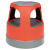 "Scooter Stool, Round, 15"", Step & Lock Wheels, to 300lb, Red"