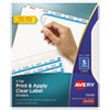 Print & Apply Clear Label Dividers W/white Tabs, 5-Tab, Letter, 5 Sets