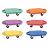 Plastic Scooter Set with Nylon Swivel Casters, 12 x 12, Assorted Colors, 6/Set