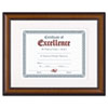 Prestige Document Frame, Matted W/cert, Walnut/black, 11 X 14, 8 1/2 X 11