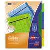 INSERTABLE BIG TAB PLASTIC DIVIDERS, 5-TAB, 11 X 8.5, ASSORTED, 1 SET