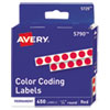 Permanent Self-Adhesive Round Color-Coding Labels, 1/4 Dia, Red, 450/pack