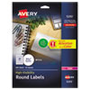 High-Visibility Round Permanent Id Labels, Laser, 1 2/3 Dia, White, 600/pack