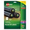 Round Print-To-The-Edge Permanent Labels, 1 2/3 Dia, Glossy Clear, 500/pack