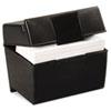 Oxford® Plastic Index Card Flip Top File Box Holds 400 4 x 6 Cards, Matte Black OXF01461