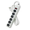 Six-Outlet Metal Power Strip, 120V, 6ft Cord, 12 3/16 x 2 1/2 x 1 3/8, Platinum