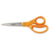 "Home And Office Scissors, 8"" Length, Stainless Steel, Straight, Orange Handle"