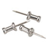 "Aluminum Head Push Pins, Aluminum, Silver, 1/2"", 100/Box"