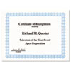 Parchment Paper Certificates, 8-1/2 X 11, Blue Conventional Border, 50/pack