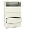 700 Series Five-Drawer Lateral File w/Roll-Out & Posting Shelves, 42w, Putty