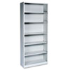 Metal Bookcase, Six-Shelf, 34-1/2w x 12-5/8d x 81-1/8h, Light Gray