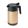 Poly Lined Carafe, Wide Mouth w/Snap-off Lid, 40oz, Capacity, Black/Gold