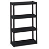 Rough N Ready Four-Shelf Open Storage System, Resin, 32w x 13d x 54h, Black