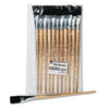Long Handle Easel Brush, Size 22, Natural Bristle, Flat, 12/pack
