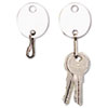 Oval Snap-Hook Key Tags, Plastic, 1 1/8 X 1 1/4, White, 20/pack