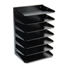 Steelmaster Multi-Tier Horizontal Letter Organizers, Seven Tier, Steel, Black