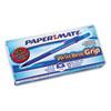 Write Bros Grip Ballpoint Stick Pen, Blue Ink, Medium, Dozen