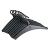 "Heavy-Duty One-Piece Molded Plastic Hangers, 16 3/4"", Black, 12/Pack"