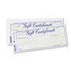 Gift Certificates W/envelopes, 8-1/2w X 3-2/3h, Blue/gold, 25/pack