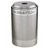 Silhouette Can/Bottle Recycling Receptacle, Round, Steel, 26gal, Silver