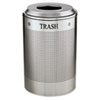Silhouette Waste Receptacle, Round, Steel, 26gal, Silver Metallic